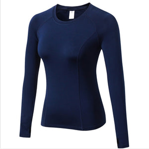Thumb Finger Fitness Sport Top Winter T shirt Quick Dry long Sleeves Yoga Shirt Gym jogging workout tops for women