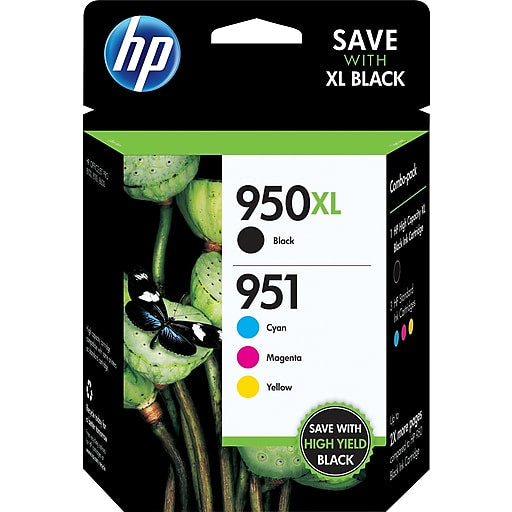 HP 950XL/951 Combo Pack Ink Cartridge, Black/Cyan/Magenta/Yellow - 4-pack (C2P01FN)