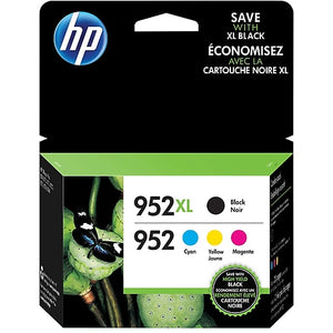 HP 952XL Black High-Yield & 952 Cyan, Magenta, Yellow Ink Cartridges, 4-Pack (N9K28AN)
