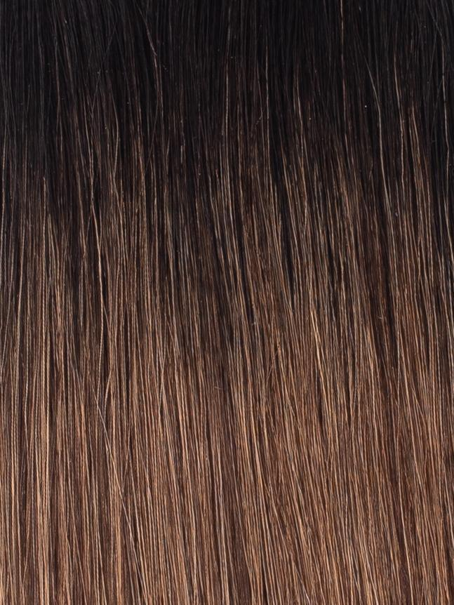"BELLAMI Professional I-Tips 18"" 25g  Off Black/Mocha Creme #1b/#2/#6 Rooted Straight Hair Extensions"