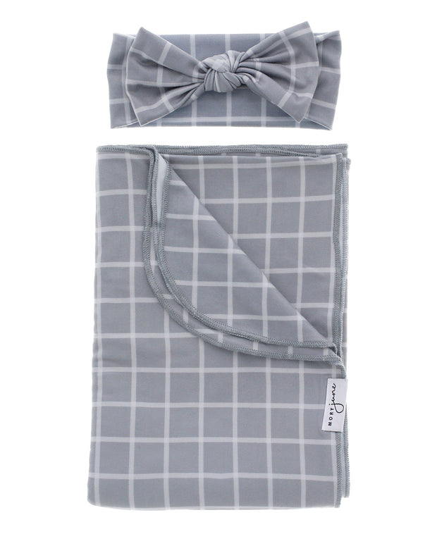 Blanket + Bow Bundle | Grey Check - MoryJune