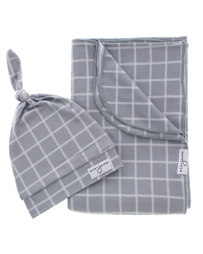 Blanket + Hat Bundle | Grey Check - MoryJune