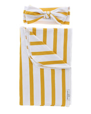 Blanket + Bow Bundle | Amber Stripe - MoryJune