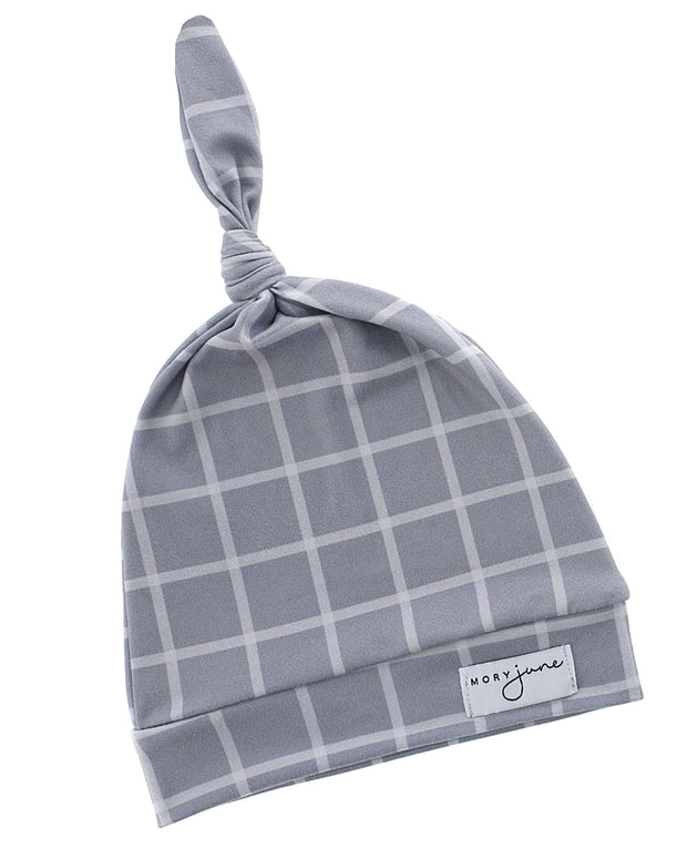 Top Knot Hat | Grey Check - MoryJune