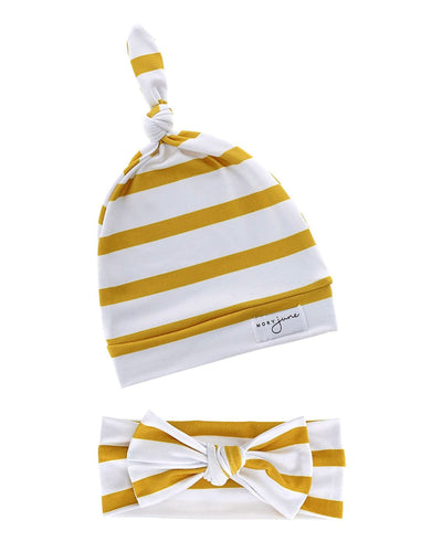 Top Knot Hat & Knit Bow Bundle | Amber Stripe - MoryJune