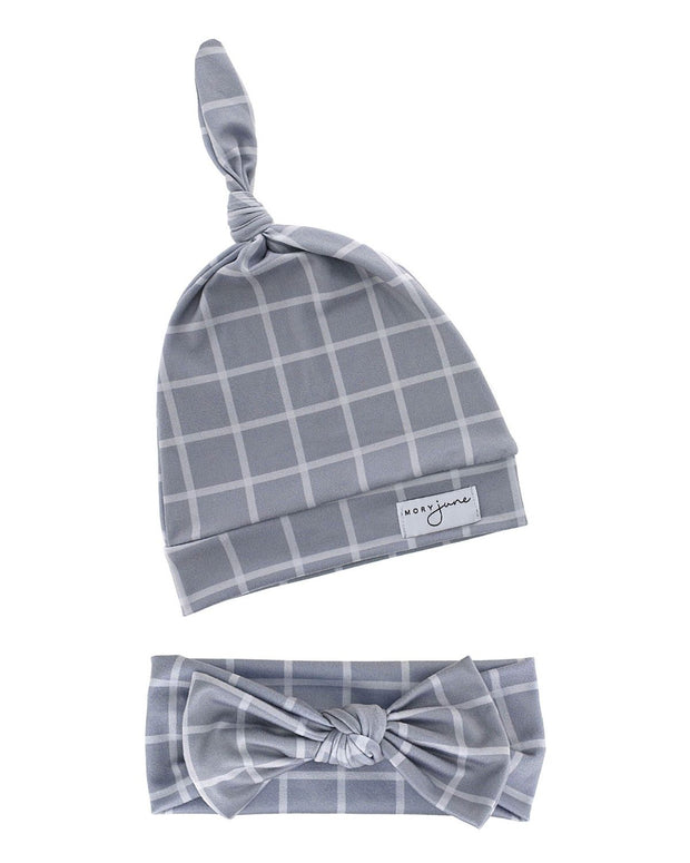 Top Knot Hat & Knit Bow Bundle | Grey Check - MoryJune