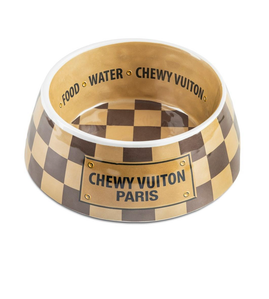 Chewy Vuiton Checkered Bowl