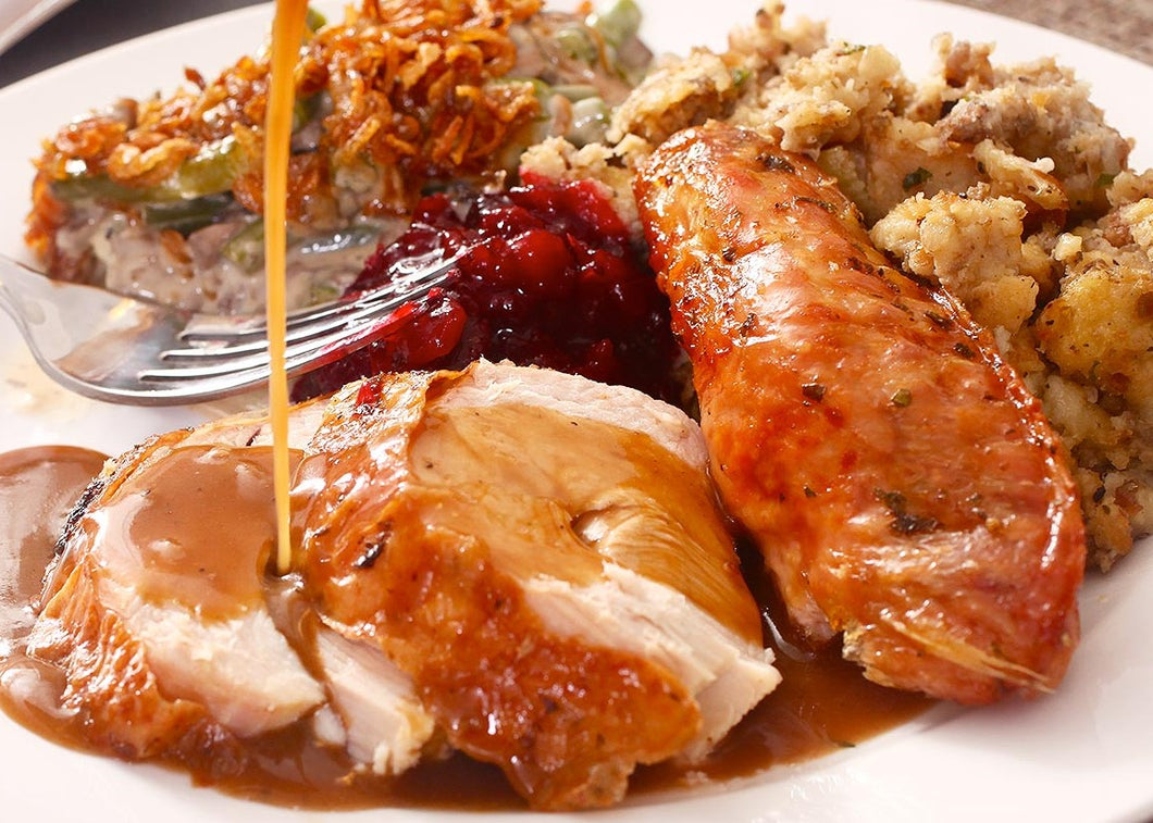 Pre-order for Thanksgiving: Wed Nov 25th - Brined and Roasted Turkey with Gravy and Stuffing