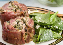 Load image into Gallery viewer, Tue April 27th - Spinach Artichoke Steak Roll-Ups / Harissa Chicken (or Tofu)