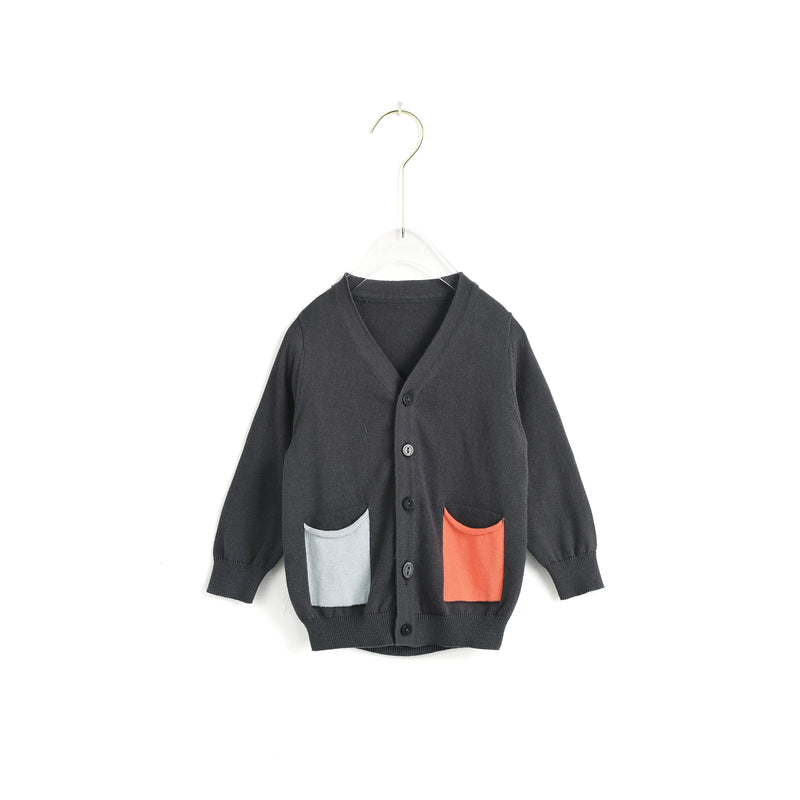 Contrasted Pockets Cardigan