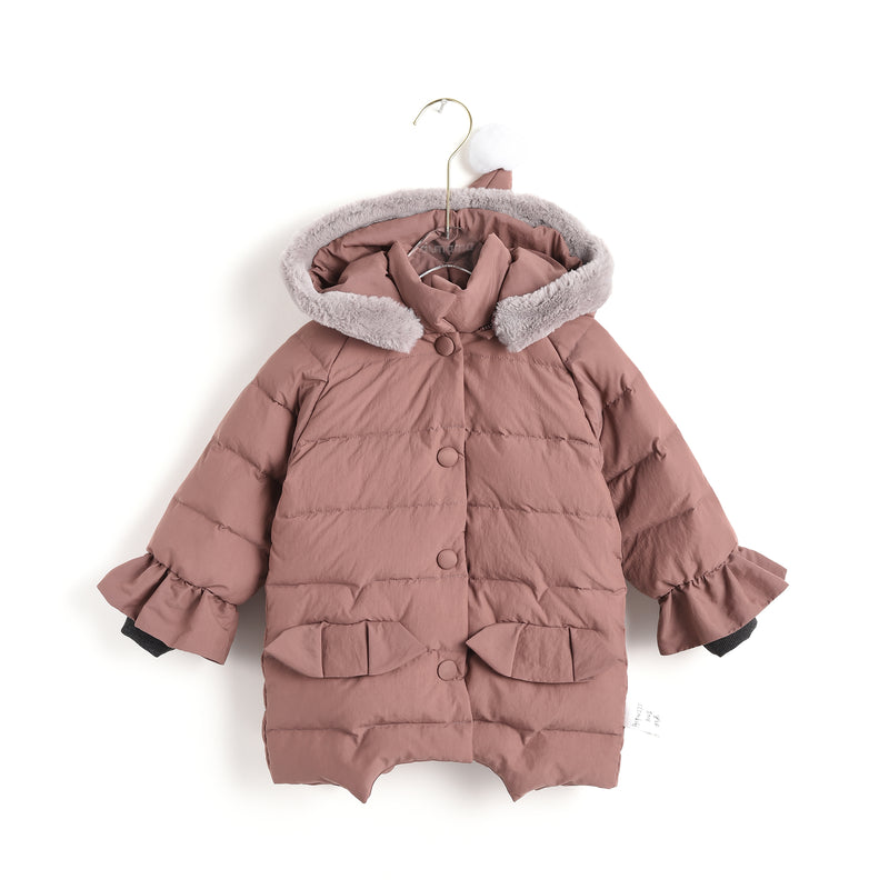 Pompom Hooded Coat
