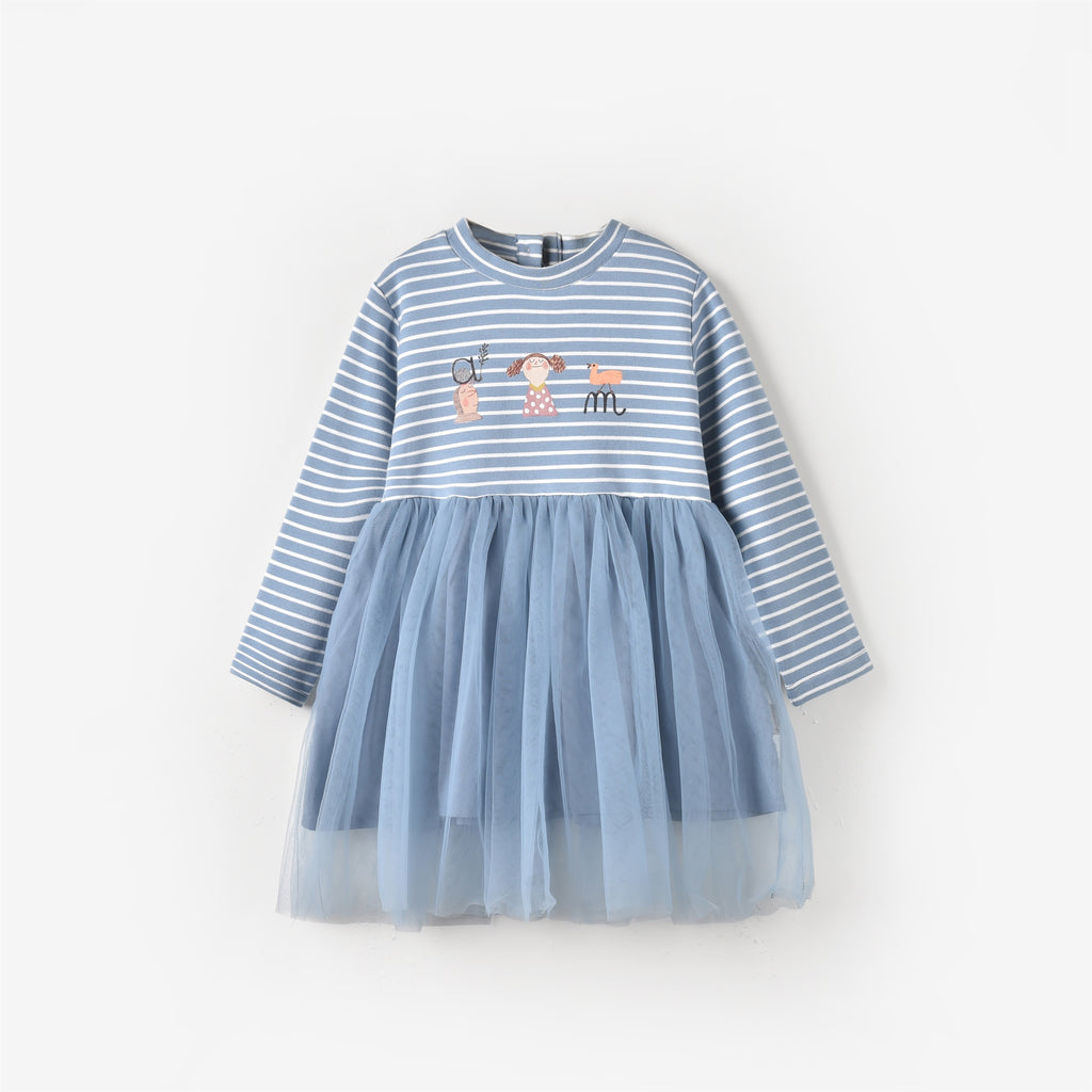 Kennedy Dress Dusty Blue Stripe