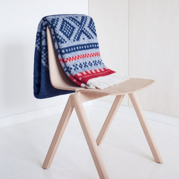 designorway.com - Marius Blanket - Red/blue, Lillunn - made in Norway