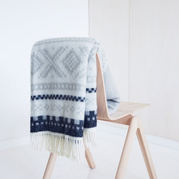 designorway.com - Marius Blanket - blue/gray by Lillunn - made in norway