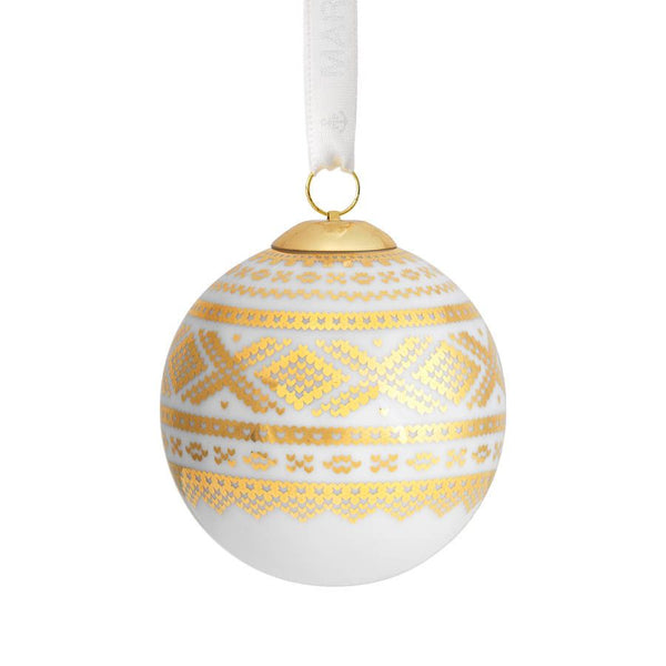 designorway.com Porsgrunds Porselænsfabrikk Porcelain Christmas ball with Marius decor - made in norway