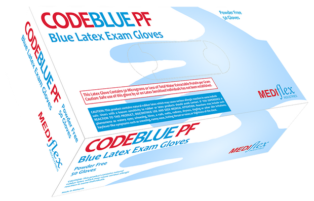 Code Blue Powder Free Long Cuff Latex Gloves