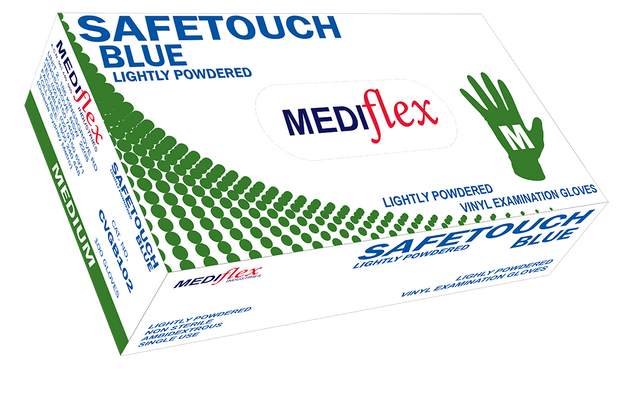 Safetouch Lightly Powdered Blue Vinyl Gloves