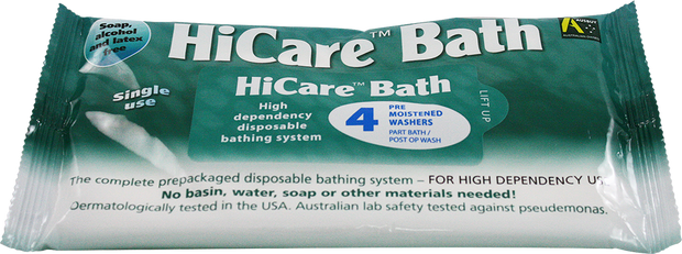 HiCare Bath Wipes, 4 Pack