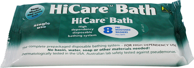 HiCare Bath Wipes, 8 Pack