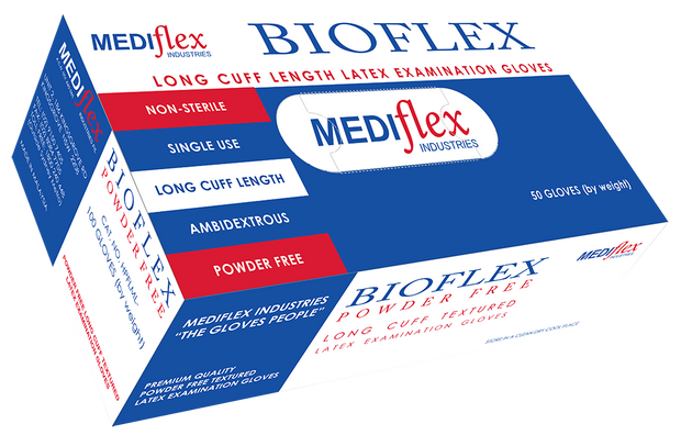 Bioflex Powder Free Long Cuff Latex Gloves (100)