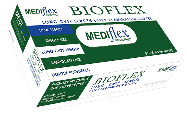 Bioflex Lightly Powdered Long Cuff Latex Gloves