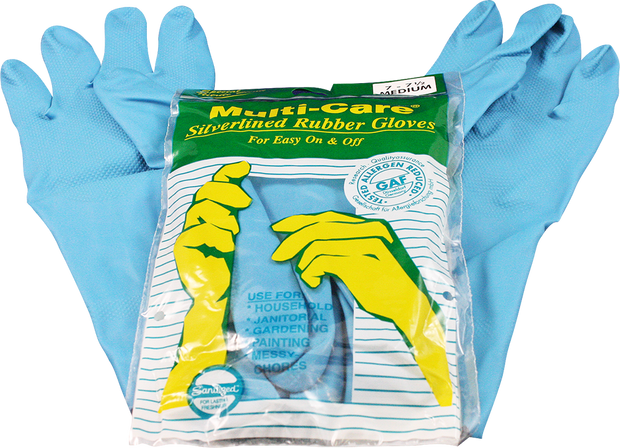 Multicare Silverlined Rubber Household Gloves