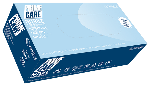 Prime Care Powder Free Heavy Duty Nitrile Gloves