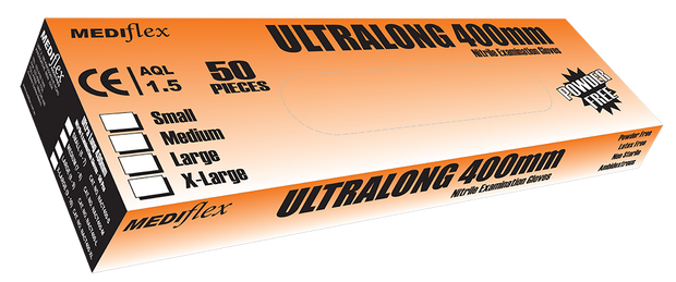 Ultralong 400 Nitrile Gauntlet Gloves - Box of 50