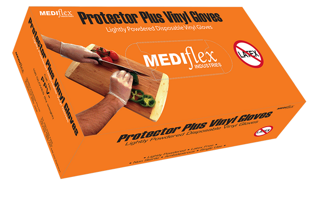 Protector Plus Lightly Powdered Clear Vinyl Gloves