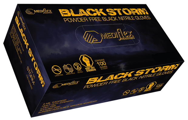 Black Storm Powder Free Black Nitrile Gloves