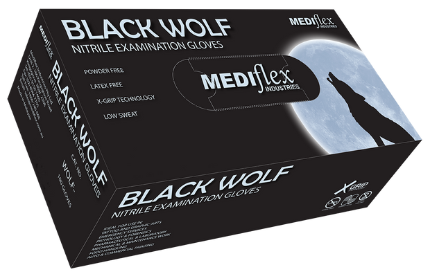 Black Wolf Powder Free Black Nitrile Gloves