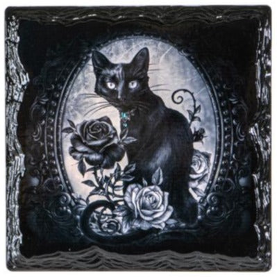 Black Cat with Roses Slate Coasters - Set of 4