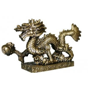 Dragon Statue Antique Gold 75x140mm
