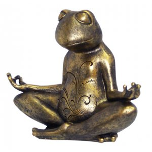 Meditating Frog Antique Bronze Finish - Lotus Pose