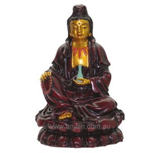 Quan Yin Statue, Rosewood Brown 95mm