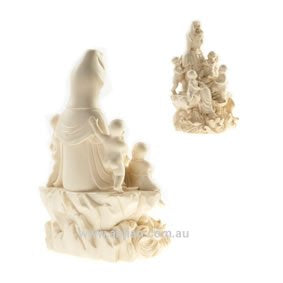 Quan Yin with 5 Children Statue, Ivory & Gold, 180mm