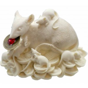 Rat/Mongoose Statue Ivory/Gold 55 x 85mm