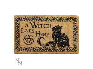 A Witch Lives Here Doormat 45 x 75cm