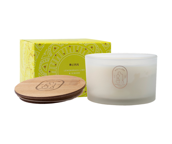 BLISS Lemongrass, Lime and Ginger 450g Distillery Vegan Soy Candle