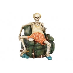 Skeleton Sitting On Couch With Beer Figurine