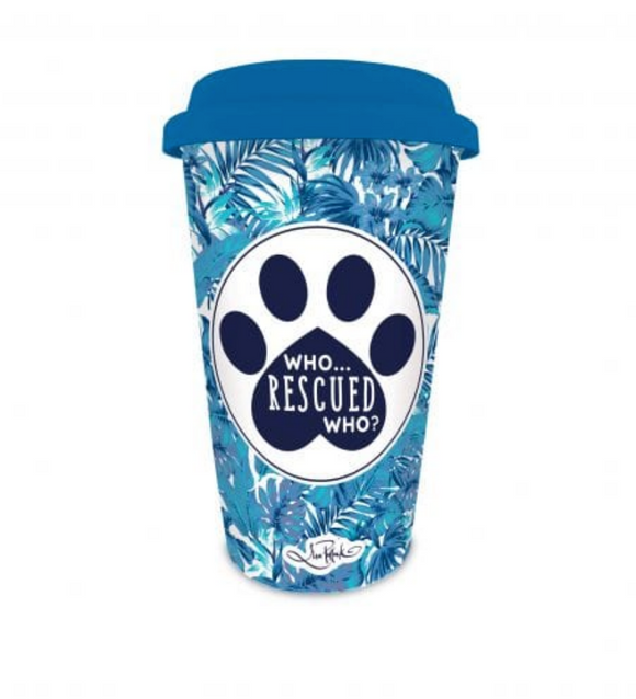 Who Rescued Who Travel Mug - Lisa Pollock