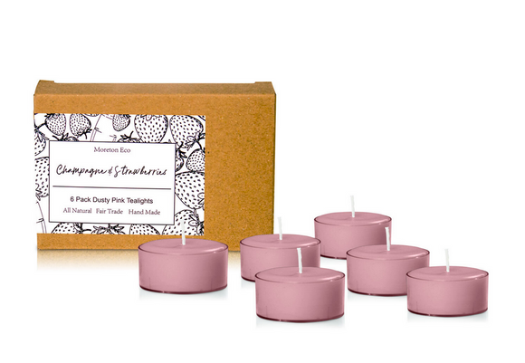 Champagne & Strawberries - Moreton Eco 6 Pack Tealights