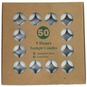 50 Pack - 9 Hour Unscented Tealight Candles