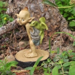 Garden Pixie with Baby Dragon on Wood Stump