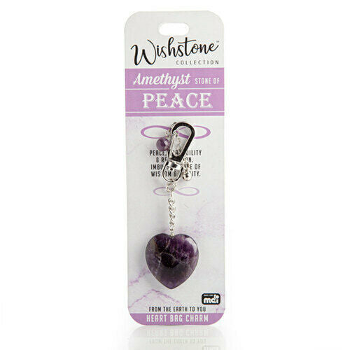 Amethyst - Peace - Heart Bag Charm