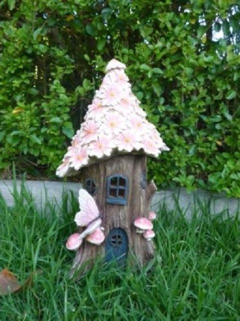 Pink Flower Solar House LED Fairy Garden FV171