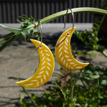 Load image into Gallery viewer, MOON EARRINGS mustard yellow