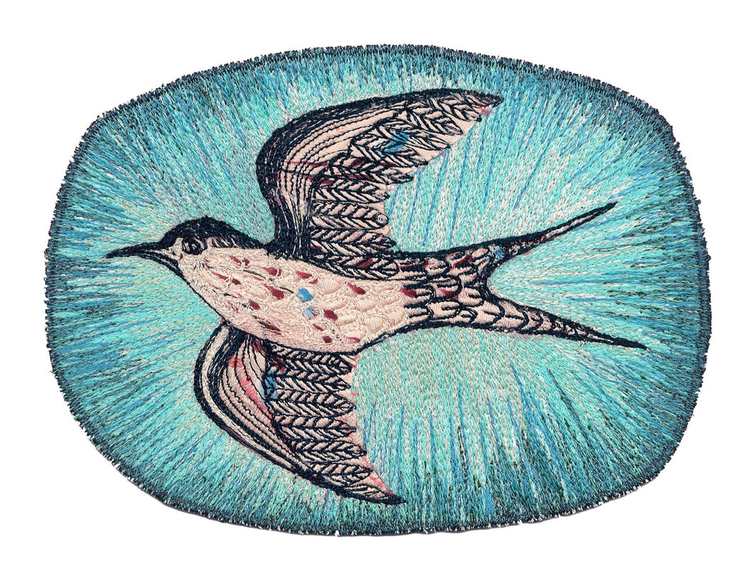 'ON THE WING - WHITE FRONTED TERN' Textile Print