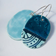 Load image into Gallery viewer, Oval X Ceramic Earrings