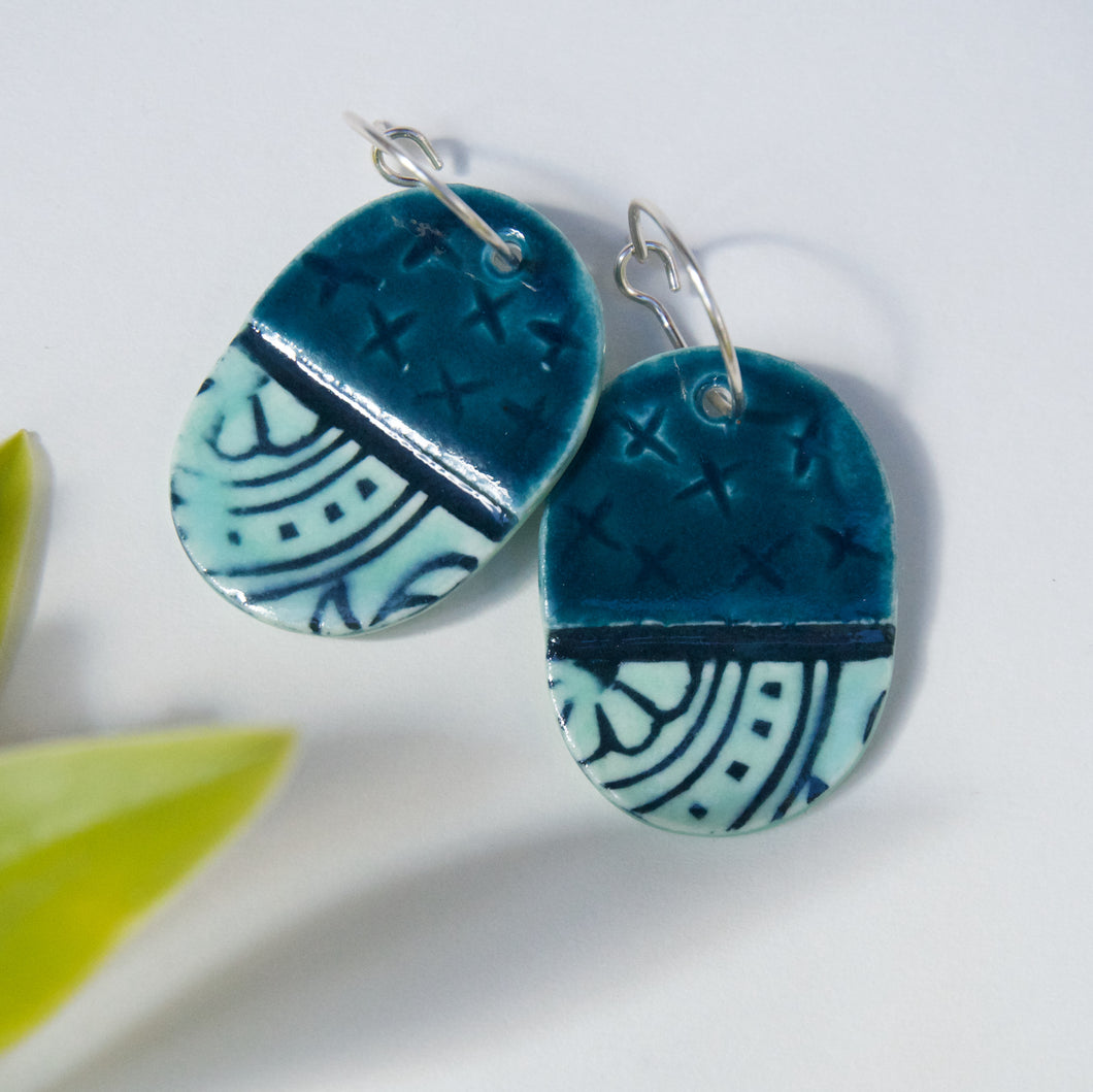 Oval X Ceramic Earrings